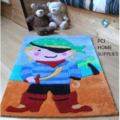 BLUE CHILDREN KIDS PIRATES BEDROOM NURSERY THICK CARPET RUG MAT 70 X 100CMS *OFFICIAL LICENSED *2.5 FT X 3.5 FT APPROX*