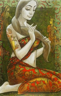 Radhika 2 by artist Sukanta Das Indian Folk Art, Indian Artist, Woman Painting, Figure Painting, Mixed Media Painting, Mixed Media Art, Modern Art, Contemporary Art, Indian Paintings