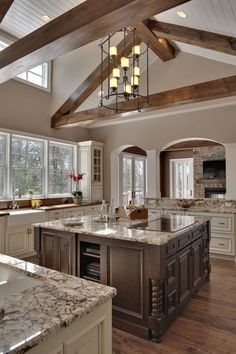 Open airy kitchen... darker island