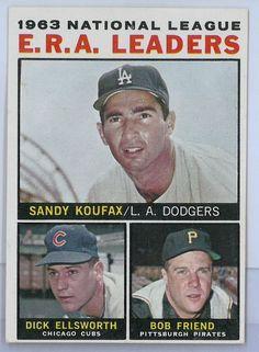 1964 Topps Baseball Set National League 1963 ERA Leaders #1 NM Sandy Koufax