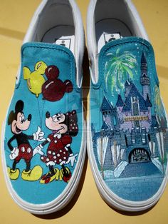 Mickey, Minnie Mouse, Disney Castle Custom Shoes by seriouslysavage.deviantart.com