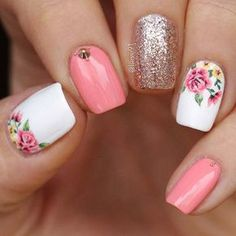 Elegant Flower Nail Idea #springnails #flowernails Like the floral print and glitter nail only