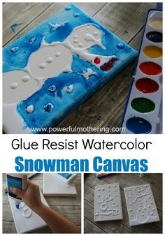 Make a set of mommy and me Glue Resist Watercolor Snowman Canvas Art projects to decorate your walls and enhance your winter themed study!