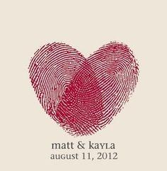 Fingerprint heart! Maybe on the wedding invite?
