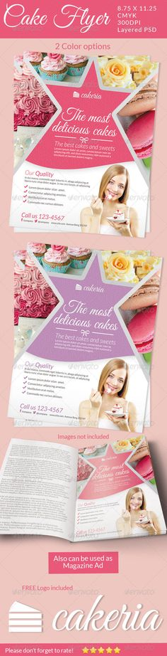 Cake Flyer / Magazine Ad — Photoshop PSD #baker #patisserie • Available here → https://graphicriver.net/item/cake-flyer-magazine-ad/5129113?ref=pxcr