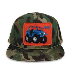 Jeep vintage patch on Deadstock Camo. Love the combination of vintage and  deadstock here. Design your own custom cap combination here at Megadeluxe. 9eb4fc33d9ae