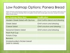 Are you looking for low fodmap options on the Panera Bread menu? Use this chart to see what you can eat at Panera Bread on the Low Fodmap diet. Fodmap Diet Plan, Low Fodmap, Low Carb, Panera Bread Menu, Fodmap Recipes, Fodmap Foods, Diet Recipes, Healthy Vegetable Recipes, Vegetarian Recipes