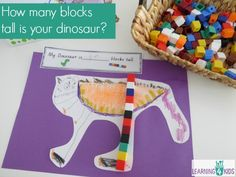 Measurement lesson idea with FREE PRINTABLE- how many blocks tall is your dinosaur, inspired by the book The Really Really Big Dinosaur by Richard Bryne. lots of measurement learnign centre ideas too Dinosaur Activities, Math Activities For Kids, Math For Kids, Fun Math, Kids Learning, 4 Kids, Dinosaurs Preschool, Number Activities, Educational Activities