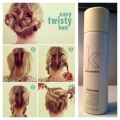 Easy twisty braid bun using Fresh Hair by Kevin Murphy. Braided bun, DIY hair, hair tutorials, hair tutorial, fashion, 2014 trends, 2014 hair trends www.salonellelajolla.com