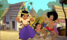 "Mowgli, Shanti, and Ranjan from ""The Jungle Book Setting: India late Based on ""Tiger!"" from ""The Jungle Book"" by Rudyard Kipling. Et Wallpaper, Wallpaper Pictures, Disney Wallpaper, Cartoon Wallpaper, Old Disney, Disney Love, Disney Stuff, Mowgli The Jungle Book, Top Image"