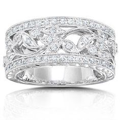 @Overstock - Click here for Ring Sizing Chart Diamond ring crafted of white goldRing has 65 round diamondshttp://www.overstock.com/Jewelry-Watches/14k-Gold-1-4ct-TDW-Round-Diamond-Vintage-Filigree-Floral-Ring-G-H-I1-I2/3644310/product.html?CID=214117 $799.99