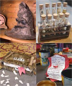 Theme Harry potter : CHoixpeau magique, livre des monstres, beuglante et cours de potion avec Rogue.