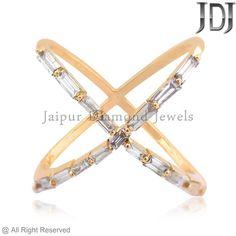 Beautiful Diamond Baguette Fine 14k Yellow Gold Criss Cross Ring Jewelry Size 7 #Handmade #RingHarness #Birthday