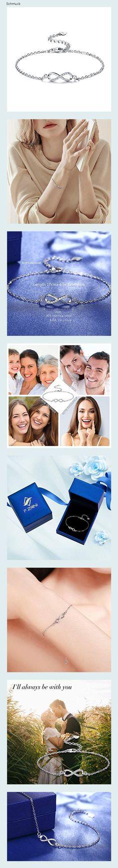 F.ZENI Armbänder Damen 925 Sterling Silber Funkeln Kubisches Zirkonia Kuss Armband Akzent Unendlichkeit für Immer Armbänder für Damen - 14ha