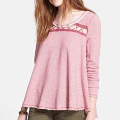 Free People Lacey love pullover sweatshirt New with tags, Free People Lacey love pullover, swing sweatshirt. Maroon and white thin striped with crisscross rope detail. Super cute, and flattering swing fit. Will fit L or XL. Free People Tops Sweatshirts & Hoodies