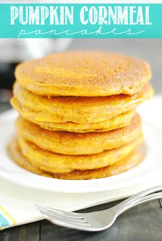 Pumpkin Cornmeal Pancakes are an incredibly delicious way to welcome fall. Moist and soft on the inside, buttery crispy edges, and drowned in maple syrup; these pancakes will be your favorite pumpkin recipe of the season!