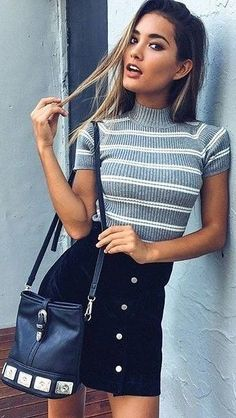 Striped Top + Black Skirt Source More