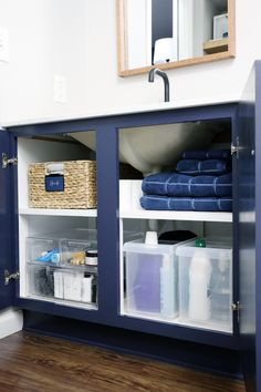 17 Doubling up on Under the Sink Storage Space - IHeart Organizing Under Bathroom Sink Double Shelving Storage Solution Organization - Bathroom Cabinet Organization, Sink Organizer, Storage Organization, Diy Storage, Extra Storage, Organizing Ideas, Storage Ideas, Shoes Organizer, Bathroom Storage Shelves