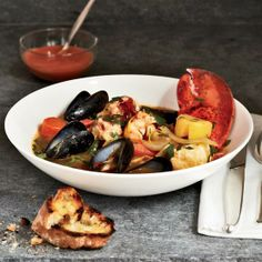 """A classic bouillabaisse often contains six or more different kinds of fish. """"But for my money, you really just need lobster, a firm fish and either mussels or clams,"""" says Ted Allen. Even in a simpli. Shrimp Stew, Seafood Stew, Seafood Dishes, Fish And Seafood, Lobster Recipes, Seafood Recipes, Wine Recipes, Cooking Recipes, Mussel Recipes"""