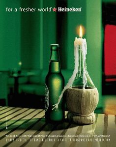 Heineken beer ad featuring an interested candle.