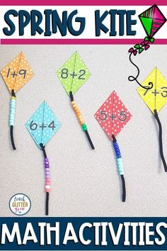 This fun kite themed activity is perfect for teaching math in Spring! Kids will love working on these hands-on Subtraction Activities, Kindergarten Math Activities, Preschool Activities, Teaching Math, Math Addition, Addition Activities, Math Crafts, Spring Activities, Math For Kids