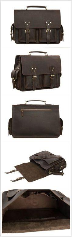 ROCKCOW Vintage Men Genuine Cowhide Leather Briefcase, Messenger Bag, Men's Handbag