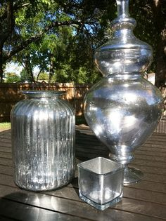 DIY Mercury Glass it's so easy! Vinegar and looking glass spray paint! 50/50 mix.