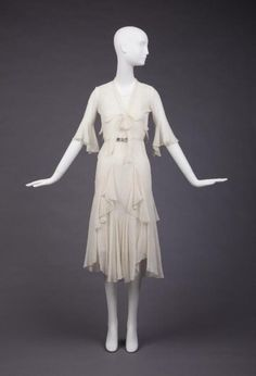 ~Dress and Jacket, 1930, bias-cut chiffon, belt with rhinestone buckle~