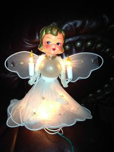 VINTAGE BABY ANGEL LIGHTED CHRISTMAS TREE TOP TOPPER LIGHT | eBay