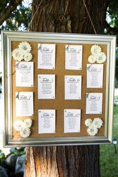 Table chart (even put a white/blue cloth over the corkboard)