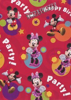 Licensed ●● Mickey & Minnie Birthday GIFT WRAP SHEETS x2 - 700mm x 495mm ●●