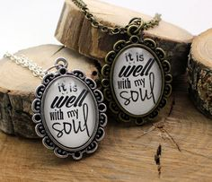 Pendant Necklace It is well with my soul by thehymndropshoppe