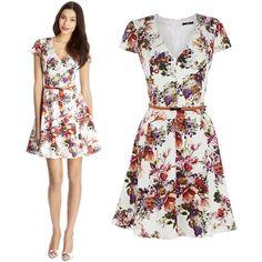 Summer V neck short sleeved  flower retro print dress.