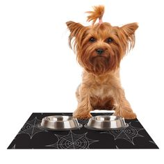 "KESS Original ""Spiderwebs - Black"" Dog Place Mat"