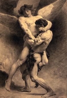 angel | in abrahamic religions and zoroastrianism angels are benevolent divine beings of heaven who act as intermediaries between god and humans | they are often organized into hierarchies, although these may vary between sects, and are given specific names or titles || léon bonnat: jacob wrestling the angel