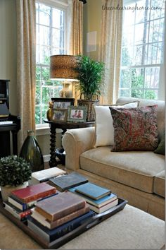 Feature Friday: The Endearing Home - Living room - Living Room Table Side Table Decor, Table Decor Living Room, Cozy Living Rooms, Living Room Sofa, Home Decor Bedroom, Home Living Room, Living Room Furniture, Corner Table Living Room, Rv Living