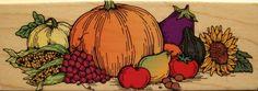 Autumn Bounty F959 Hero Arts Pumpkin Thanksgiving Fall Wood Mounted Rubber Stamp