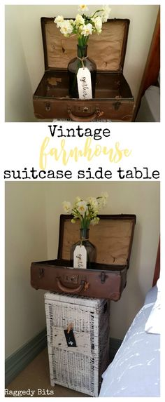 Rather than spending money on buying a side table for my daughter's bedroom I wanted to used things that we already had. Using an old suitcase and a cane basket I turned them into a Vintage Farmhouse Suitcase Side Table | See how | http://www.raggedy-bits.com