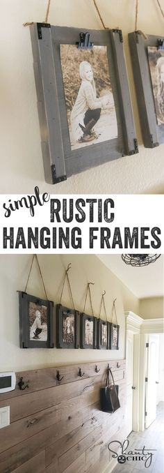 LOVE these frames! SO simple. Great way to display the kids pictures easily wi. - LOVE these frames! SO simple… Great way to display the kids pictures easily without messing with - Country Decor, Rustic Decor, Farmhouse Decor, Farmhouse Design, Modern Farmhouse, Farmhouse Style, Country Living, Hanging Frames, Diy Hanging
