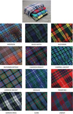 Scottish Tartan Blankets - Clan Tartans. Gorgeous patterns!