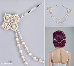 Bridal bling! Vintage inspired pearl and crystal bridal hair jewelry in ivory/silver