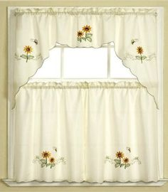 Amazon.com: 3pc Beige with Yellow Sunflower and Butterfly Kitchen/Cafe Curtain Tier and Swag Set: Home & Kitchen