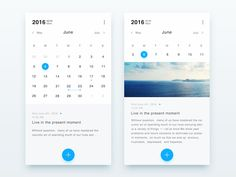 Calendar application designed by Connect with them on Dribbble; the global community for designers and creative professionals. Android Design, App Ui Design, User Interface Design, Flat Design, Calendar Ui, Calendar Design, Design Thinking, Motion Design, Journal App