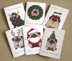 Pug Mini Christmas Card Pack by creaturekebab on Etsy, £4.00