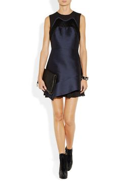 Proenza Schouler silk-shantung and chiffon dress, Stella McCartney clutch, and Jason Wu shoes