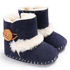 Newborn Toddler Baby Girls Boys Bling Warm Villus Soft Sole Boots Shoes 0-18M