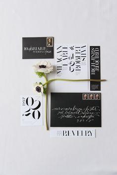 modern invitation design by @Nichole Radman Radman michel / coral pheasant for WellWed Magazine #modern #invitation #wedding #paper #typography #black #white #epic
