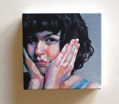 Jenny / kleine Leinwand drucken - Portrait Malerei - Druck von Original Acrylbild