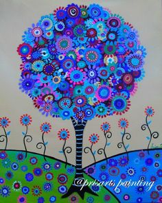 Mexican Folk Art Tree of Life Original Painting Folk Art Flowers PRISARTS Floral #Abstract