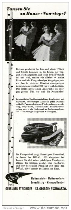 Original-Werbung / Inserat / Anzeige DUAL PLATTENSPIELER - ca. 70 x 220 mm